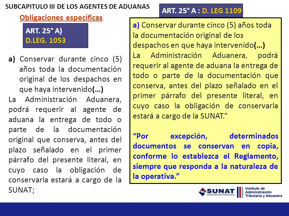 SUBCAPITULO III DE LOS AGENTES DE ADUANAS