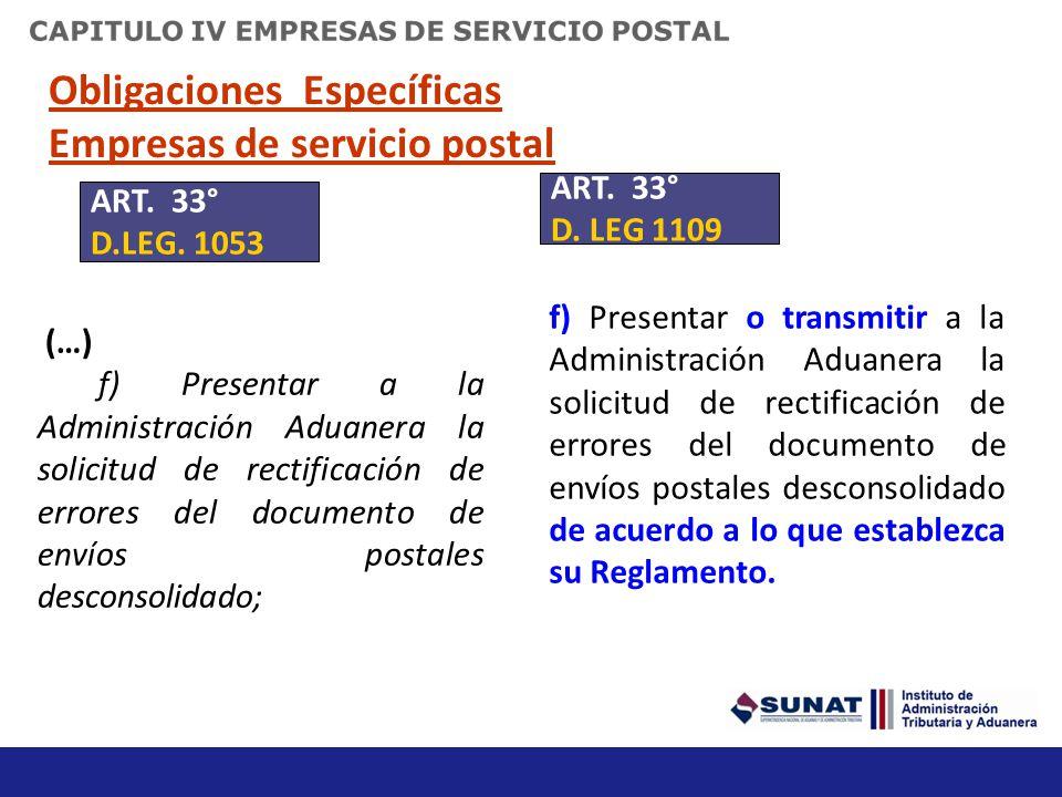 Obligaciones Específicas Empresas de servicio postal