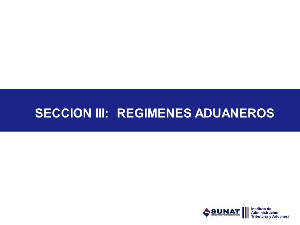 SECCION III: REGIMENES ADUANEROS