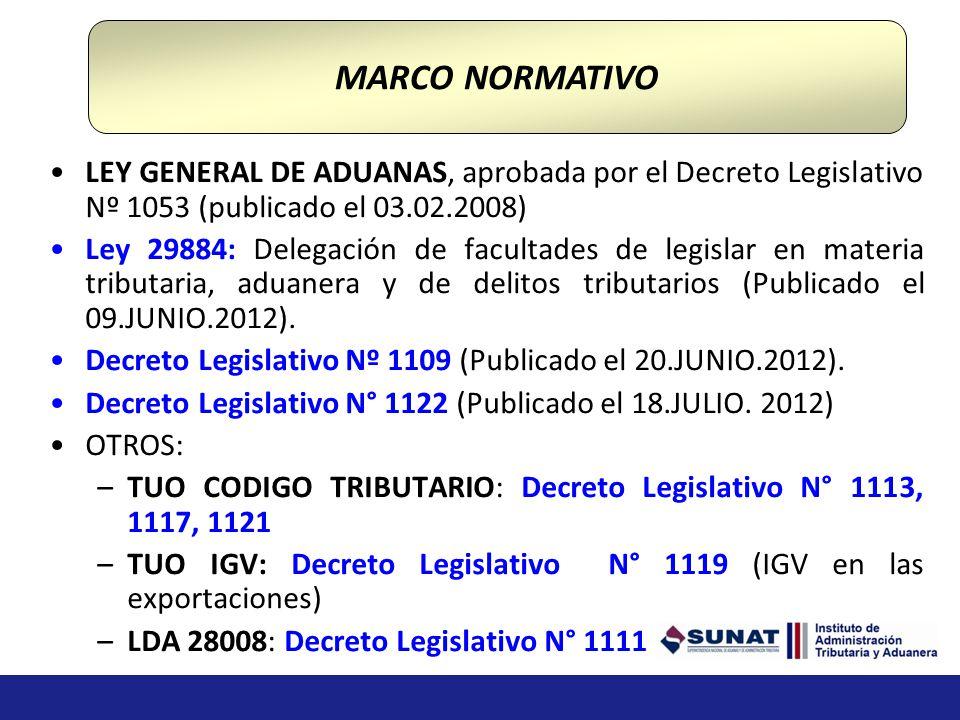 MARCO NORMATIVO LEY GENERAL DE ADUANAS, aprobada por el Decreto Legislativo Nº 1053 (publicado el 03.02.2008)