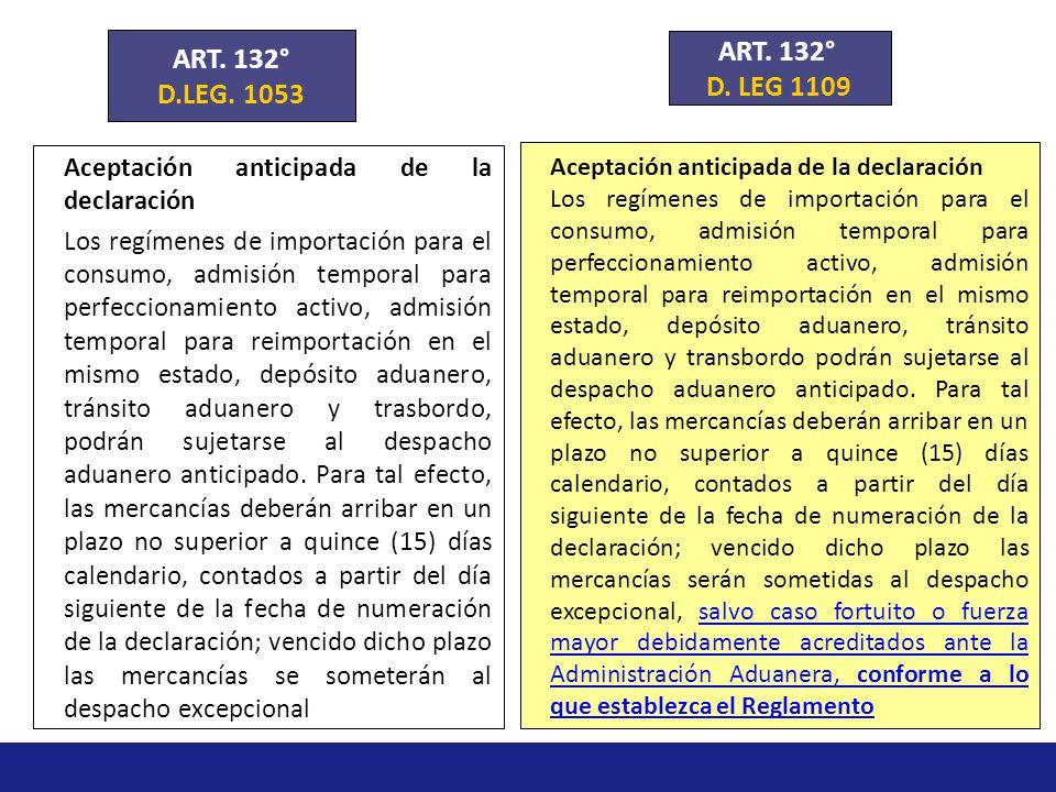 ART. 132° D.LEG. 1053. ART. 132° D. LEG 1109. Aceptación anticipada de la declaración.