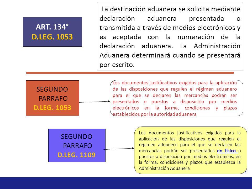 La destinación aduanera se solicita mediante declaración aduanera presentada o transmitida a través de medios electrónicos y es aceptada con la numeración de la declaración aduanera. La Administración Aduanera determinará cuando se presentará por escrito.