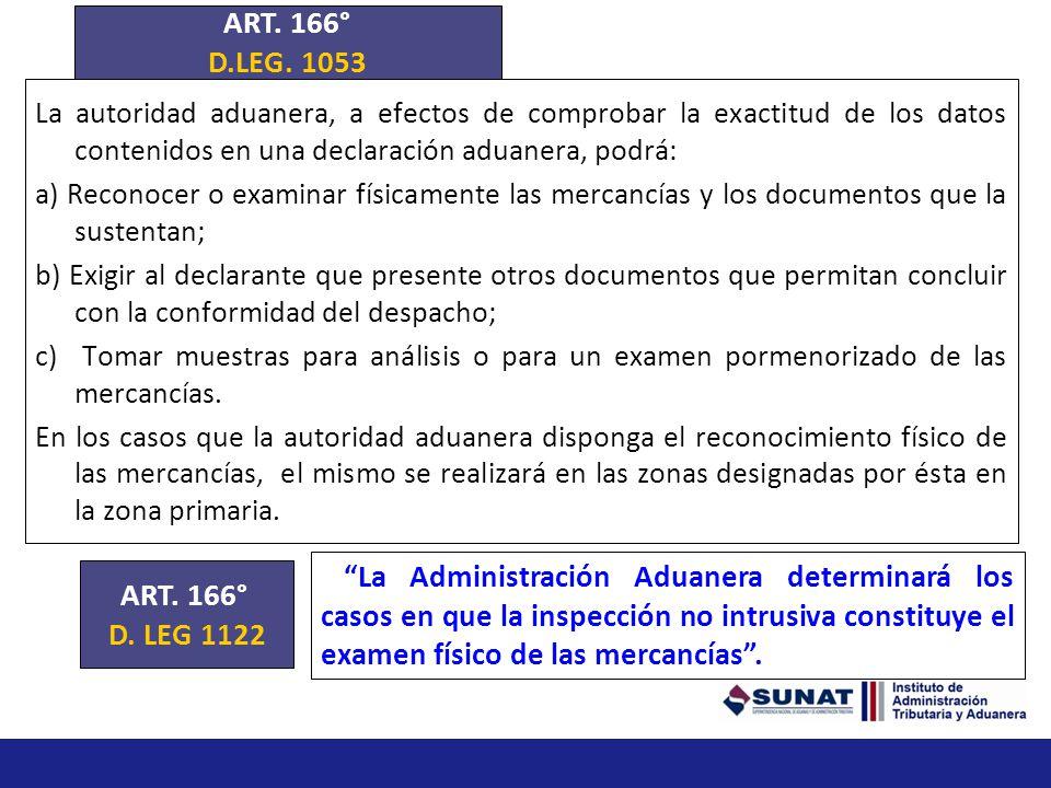 ART. 166° D.LEG. 1053. La autoridad aduanera, a efectos de comprobar la exactitud de los datos contenidos en una declaración aduanera, podrá: