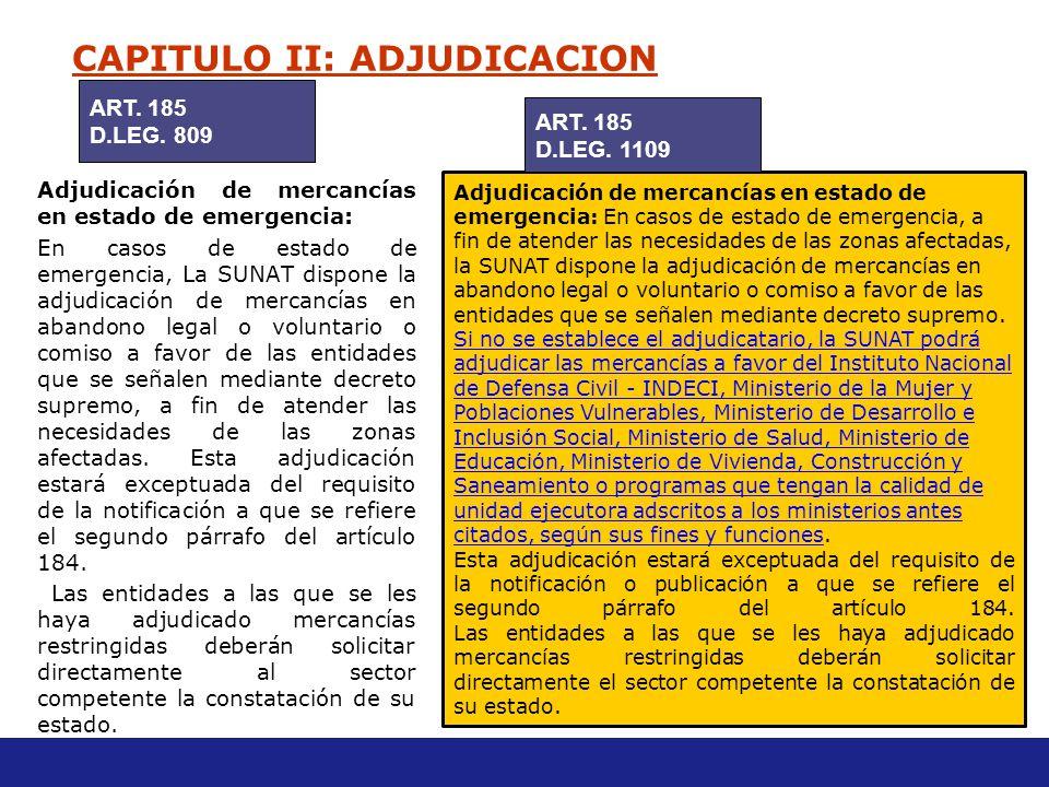CAPITULO II: ADJUDICACION