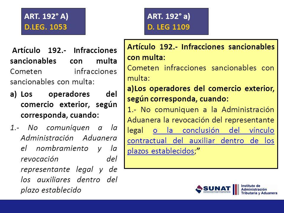 ART. 192° A) D.LEG. 1053. ART. 192° a) D. LEG 1109. Artículo 192.- Infracciones sancionables con multa: