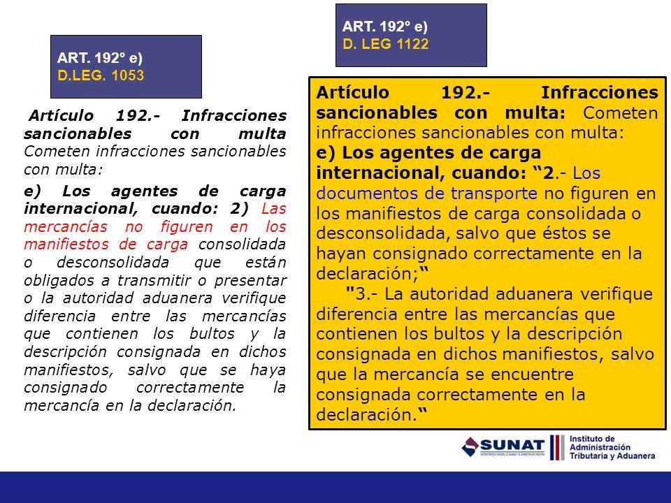 ART. 192° e) D. LEG 1122. ART. 192° e) D.LEG. 1053.