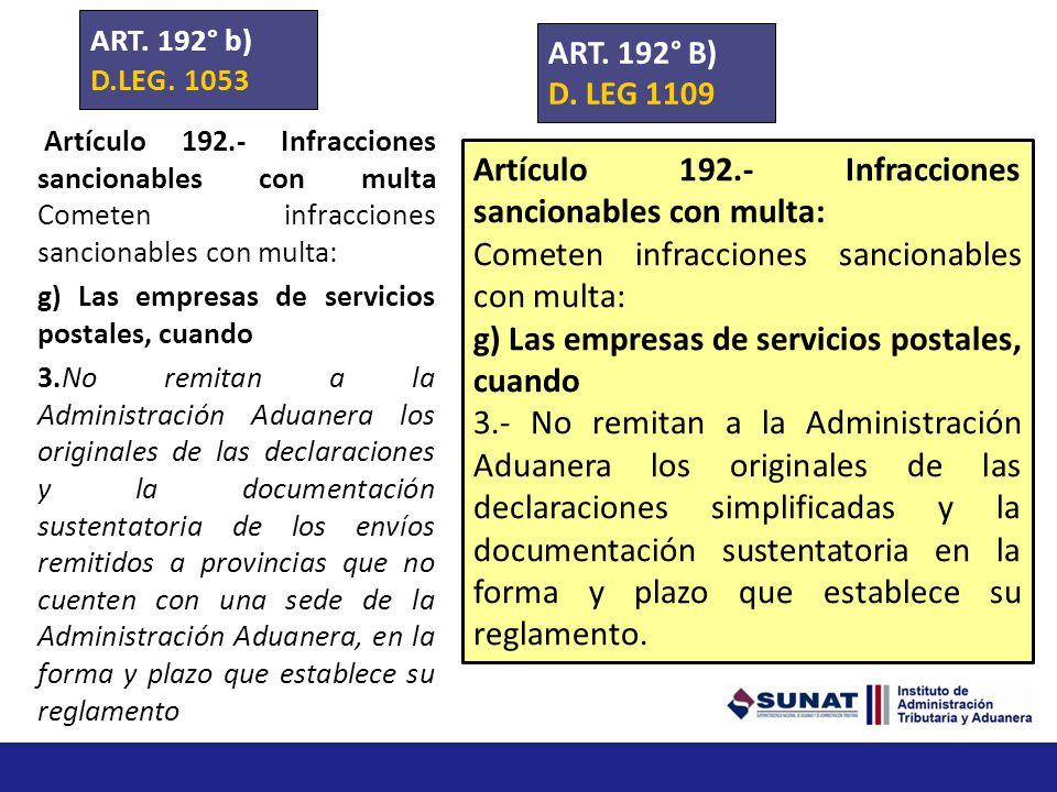 Artículo 192.- Infracciones sancionables con multa: