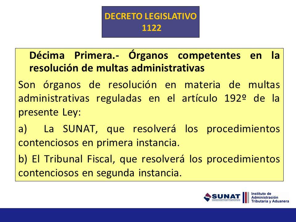 DECRETO LEGISLATIVO 1122. Décima Primera.- Órganos competentes en la resolución de multas administrativas.