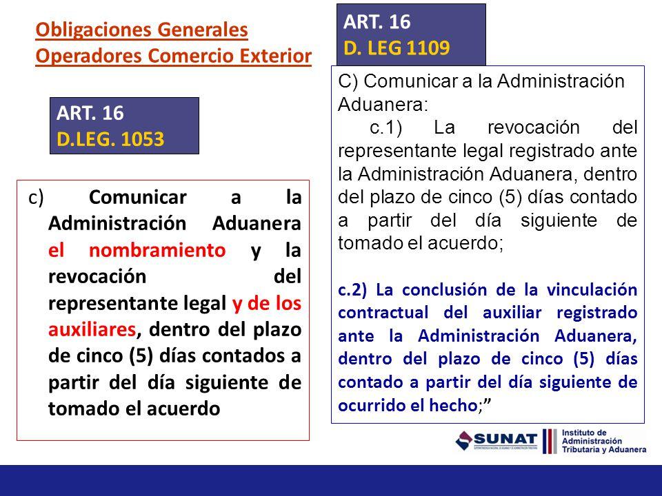 Obligaciones Generales Operadores Comercio Exterior