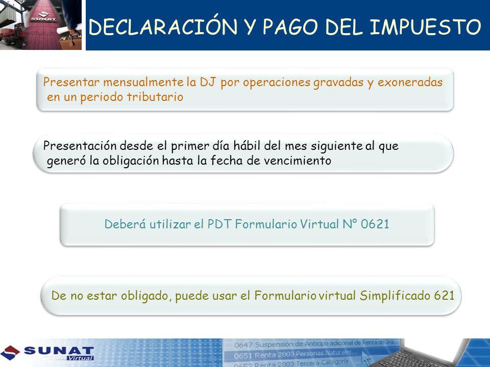 DECLARACIÓN Y PAGO DEL IMPUESTO