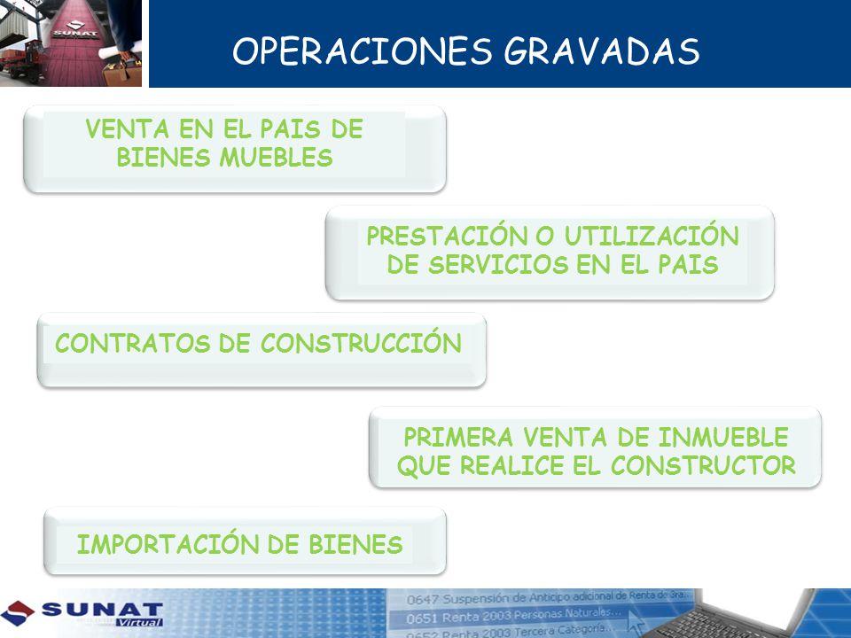 OPERACIONES GRAVADAS VENTA EN EL PAIS DE BIENES MUEBLES