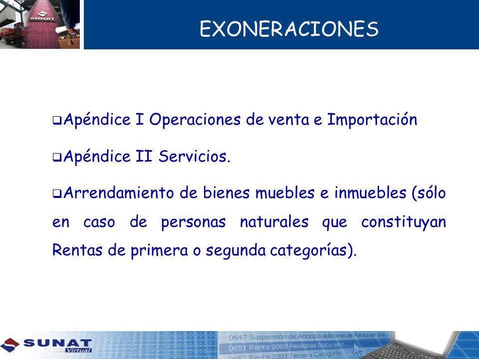 EXONERACIONES Apéndice I Operaciones de venta e Importación