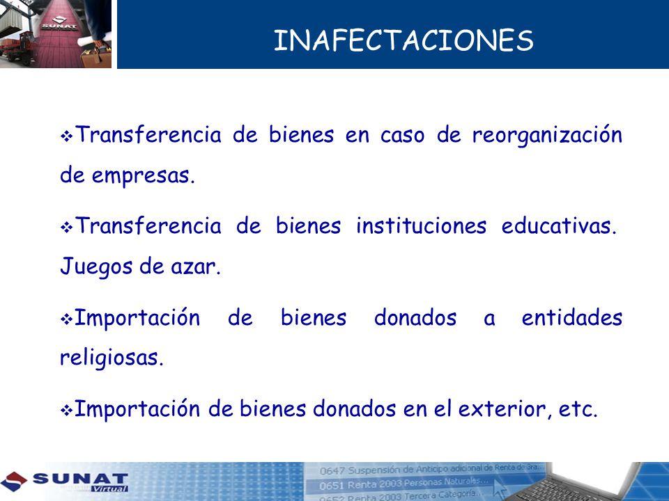 INAFECTACIONES Transferencia de bienes en caso de reorganización de empresas. Transferencia de bienes instituciones educativas. Juegos de azar.