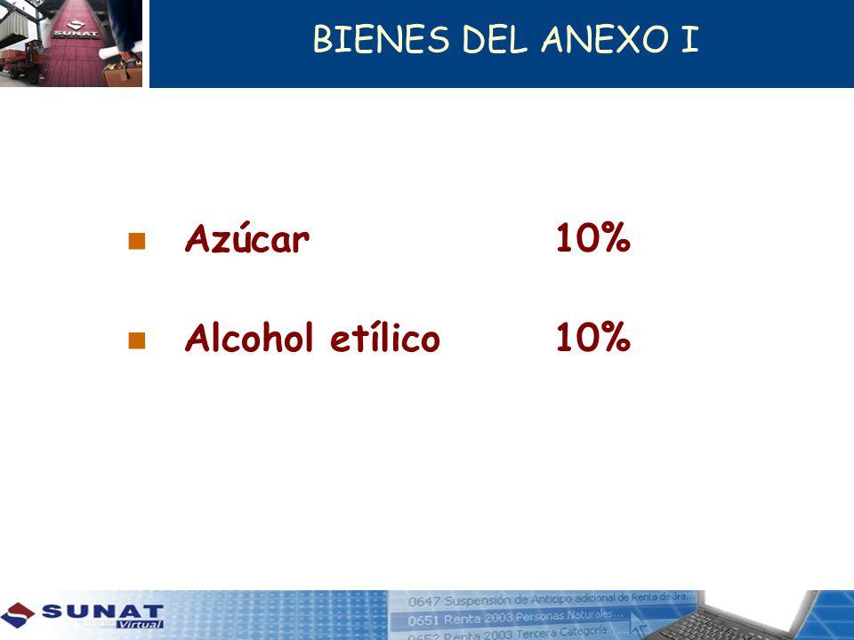 BIENES DEL ANEXO I Azúcar 10% Alcohol etílico 10%