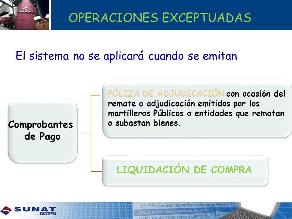 OPERACIONES EXCEPTUADAS