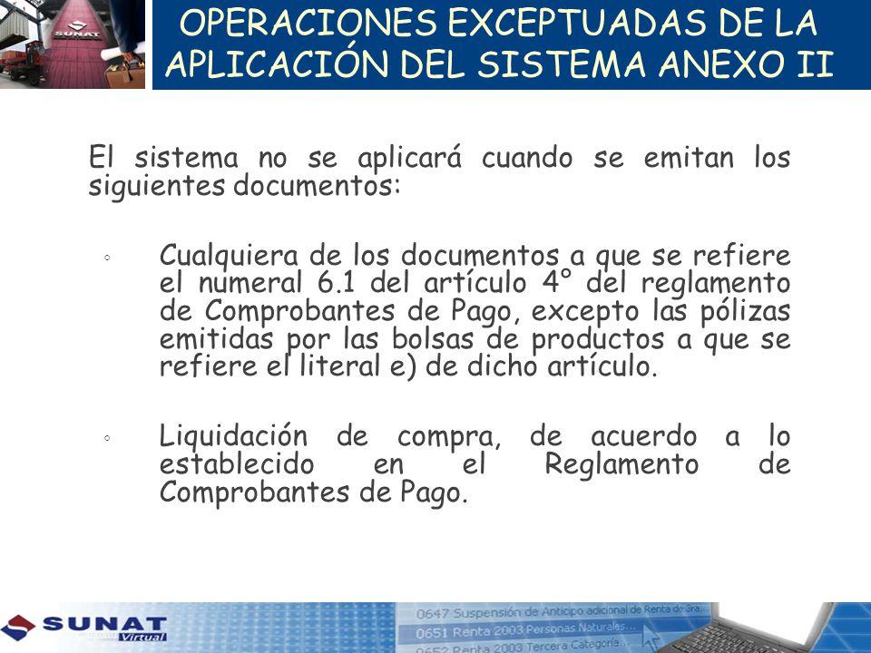 OPERACIONES EXCEPTUADAS DE LA APLICACIÓN DEL SISTEMA ANEXO II