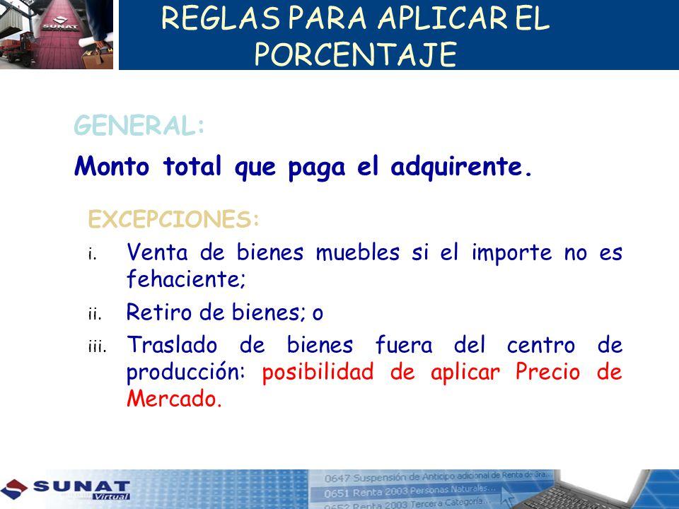 REGLAS PARA APLICAR EL PORCENTAJE