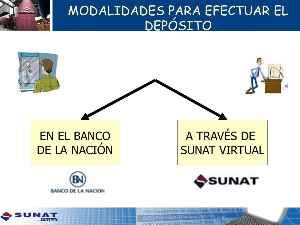 MODALIDADES PARA EFECTUAR EL DEPÓSITO