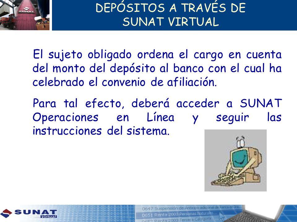 DEPÓSITOS A TRAVÉS DE SUNAT VIRTUAL