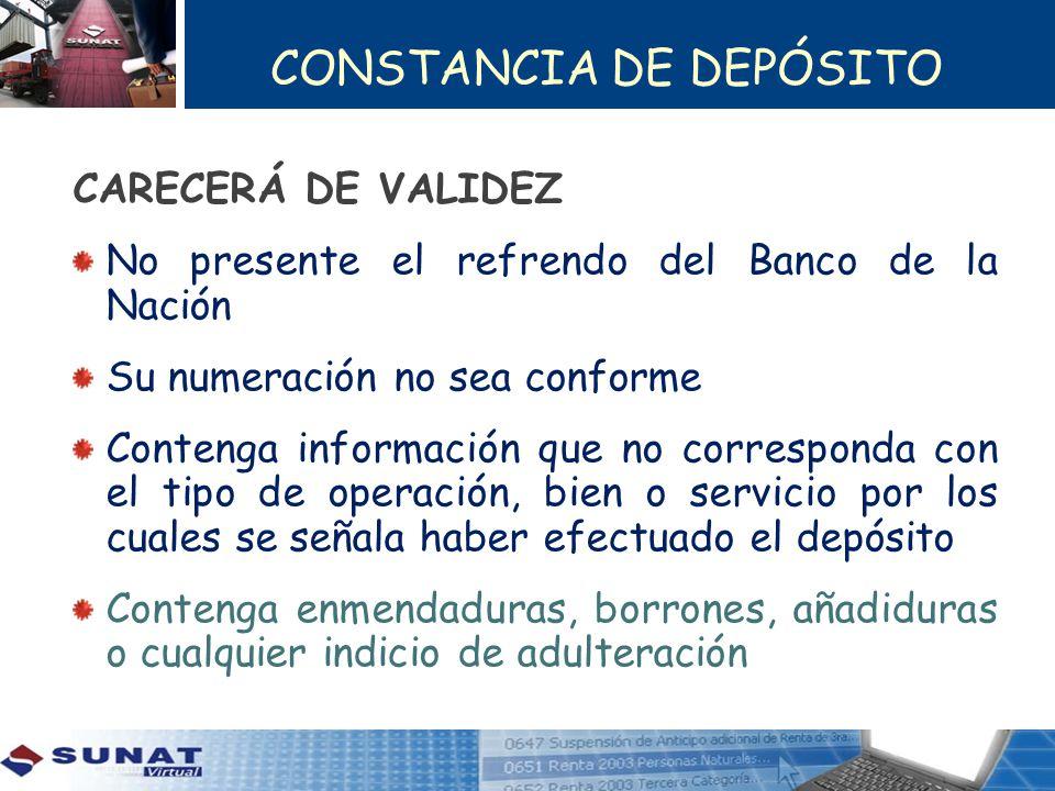 CONSTANCIA DE DEPÓSITO