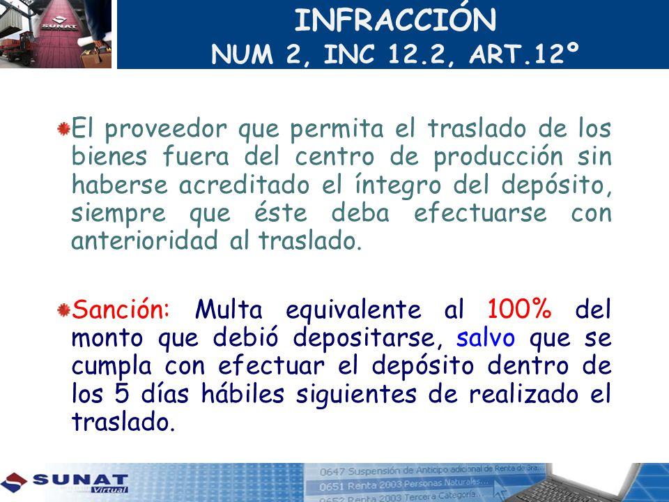 INFRACCIÓN NUM 2, INC 12.2, ART.12º
