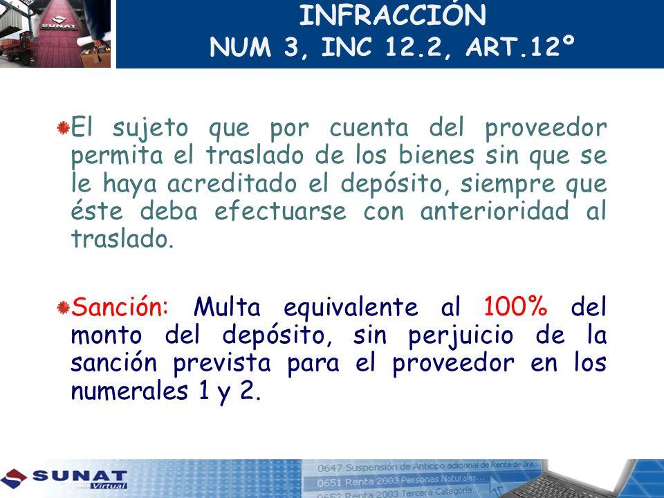 INFRACCIÓN NUM 3, INC 12.2, ART.12º