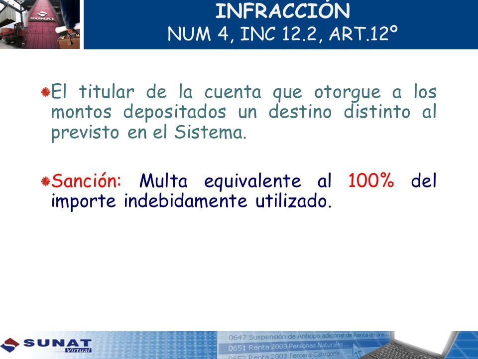 INFRACCIÓN NUM 4, INC 12.2, ART.12º