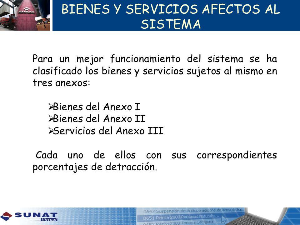 BIENES Y SERVICIOS AFECTOS AL SISTEMA