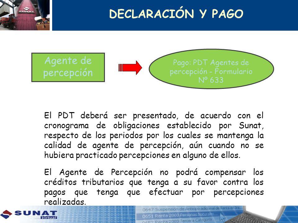 Pago: PDT Agentes de percepción - Formulario Nº 633