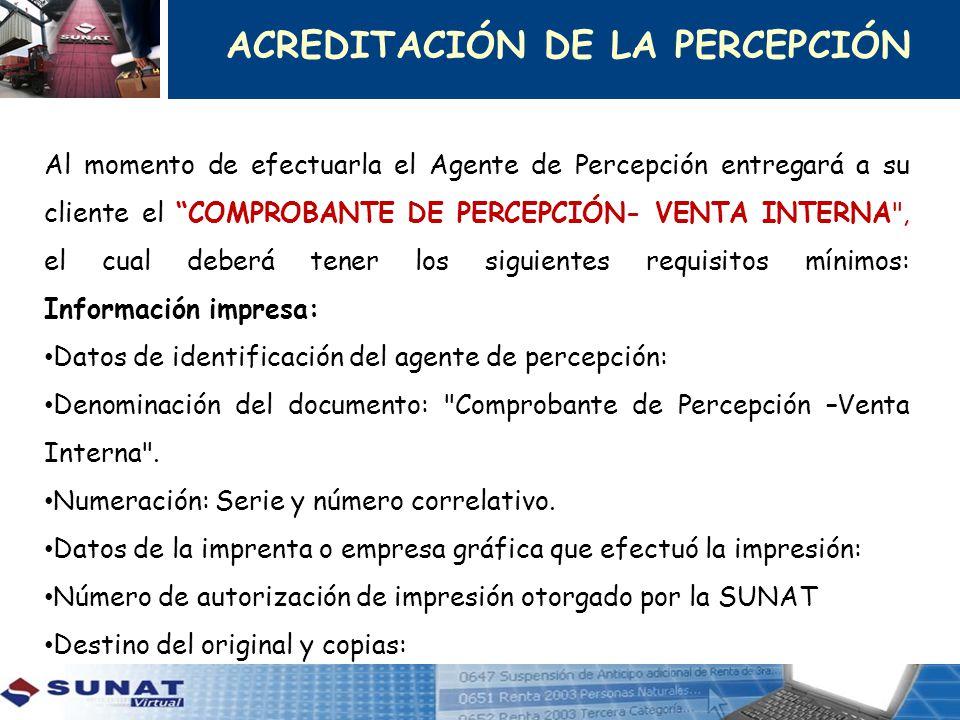 ACREDITACIÓN DE LA PERCEPCIÓN