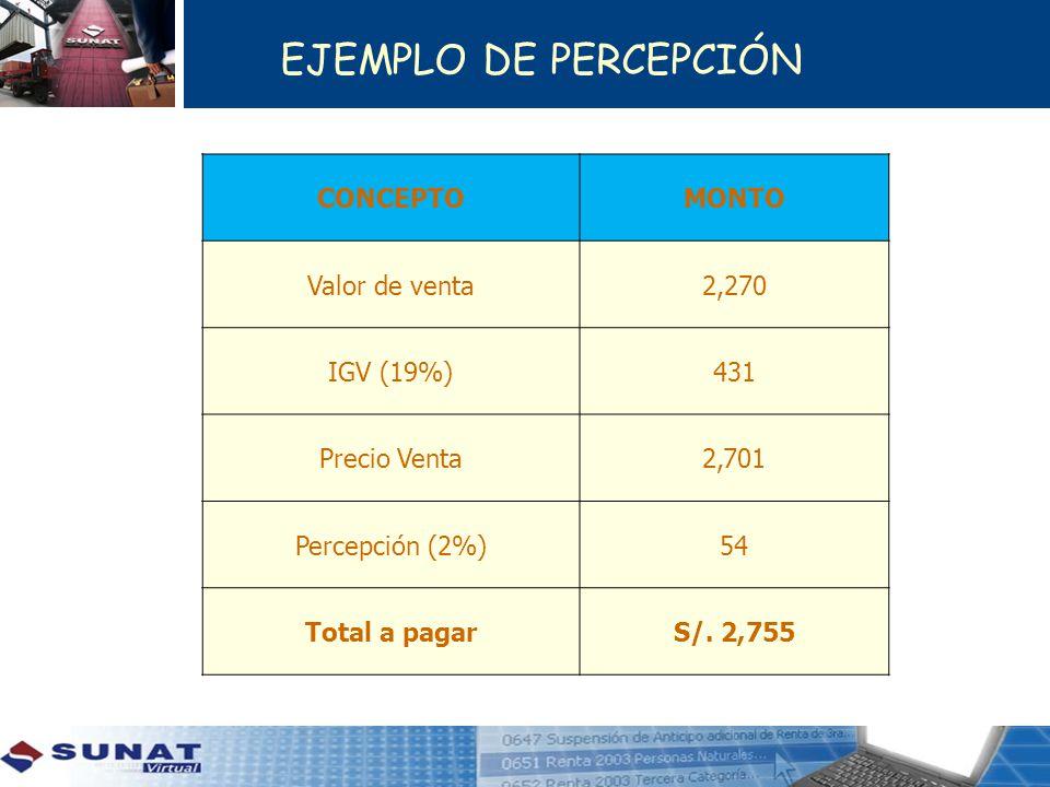 EJEMPLO DE PERCEPCIÓN CONCEPTO MONTO Valor de venta 2,270 IGV (19%)