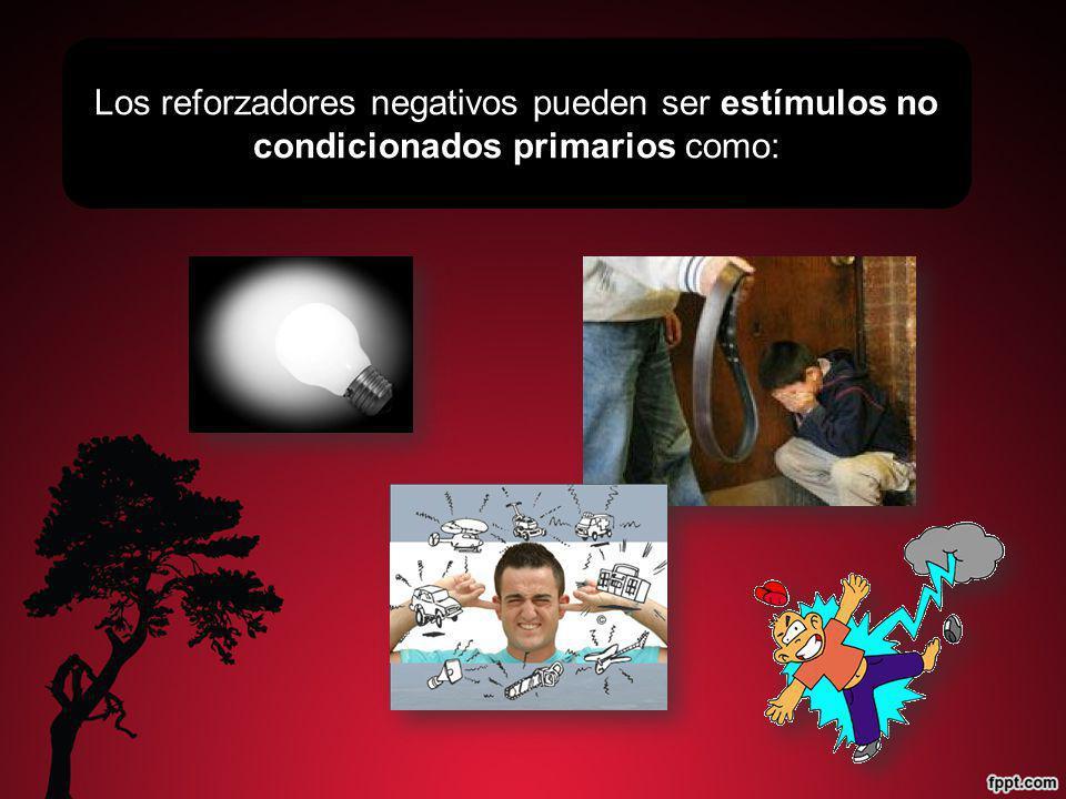 Los reforzadores negativos pueden ser estímulos no condicionados primarios como: