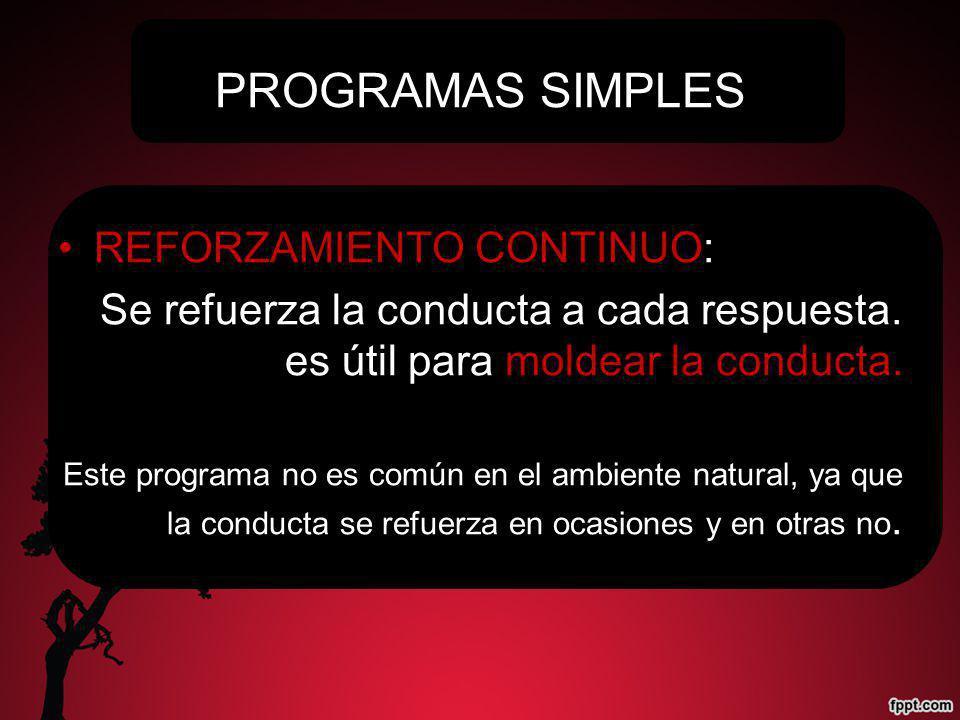 PROGRAMAS SIMPLES REFORZAMIENTO CONTINUO: