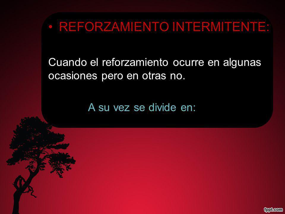 REFORZAMIENTO INTERMITENTE: