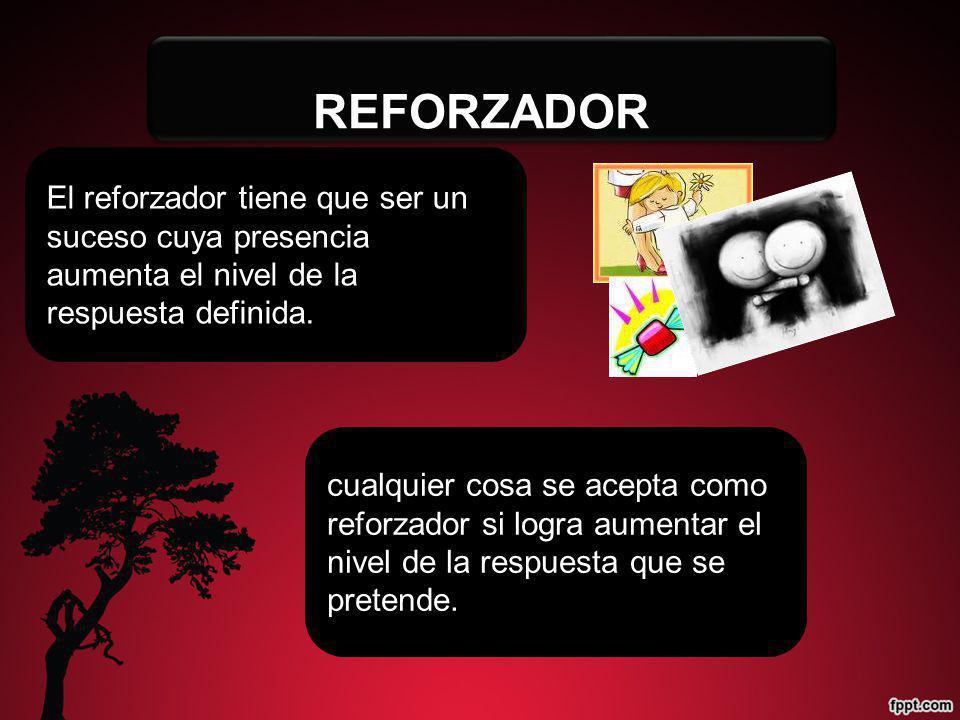 REFORZADOR El reforzador tiene que ser un suceso cuya presencia aumenta el nivel de la respuesta definida.