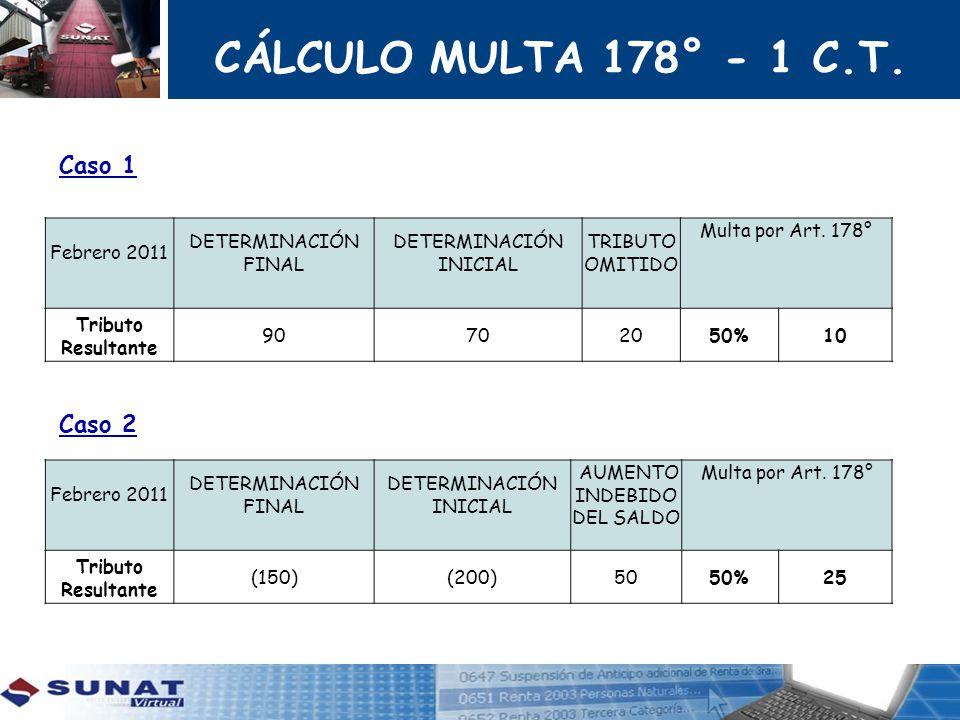 CÁLCULO MULTA 178° - 1 C.T. Caso 1 Caso 2 Febrero 2011