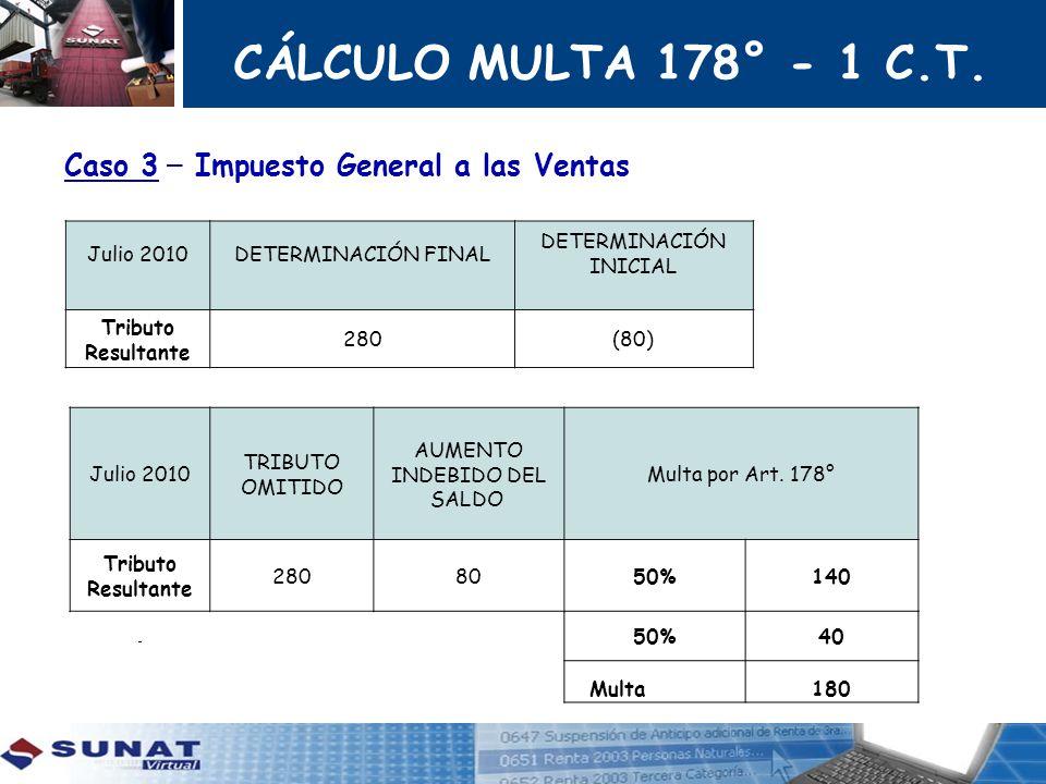 CÁLCULO MULTA 178° - 1 C.T. Caso 3 – Impuesto General a las Ventas
