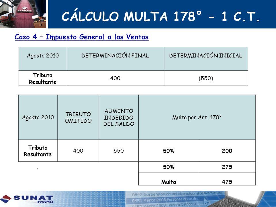 CÁLCULO MULTA 178° - 1 C.T. Caso 4 – Impuesto General a las Ventas