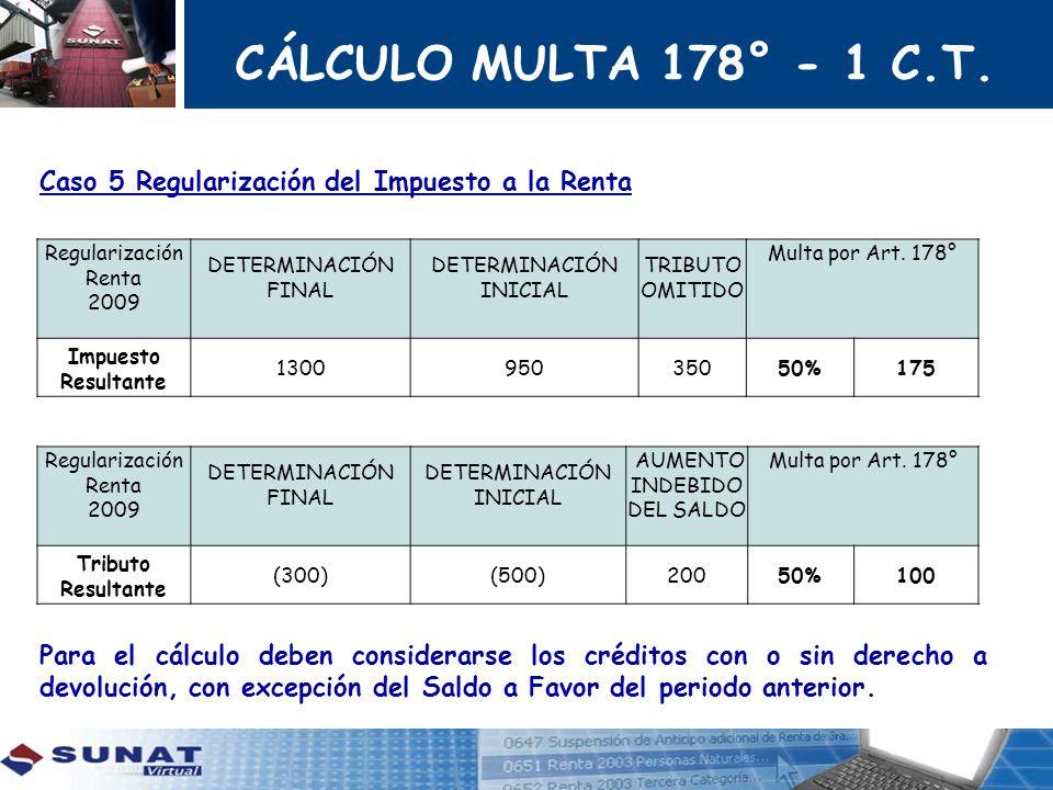 CÁLCULO MULTA 178° - 1 C.T. Caso 5 Regularización del Impuesto a la Renta.