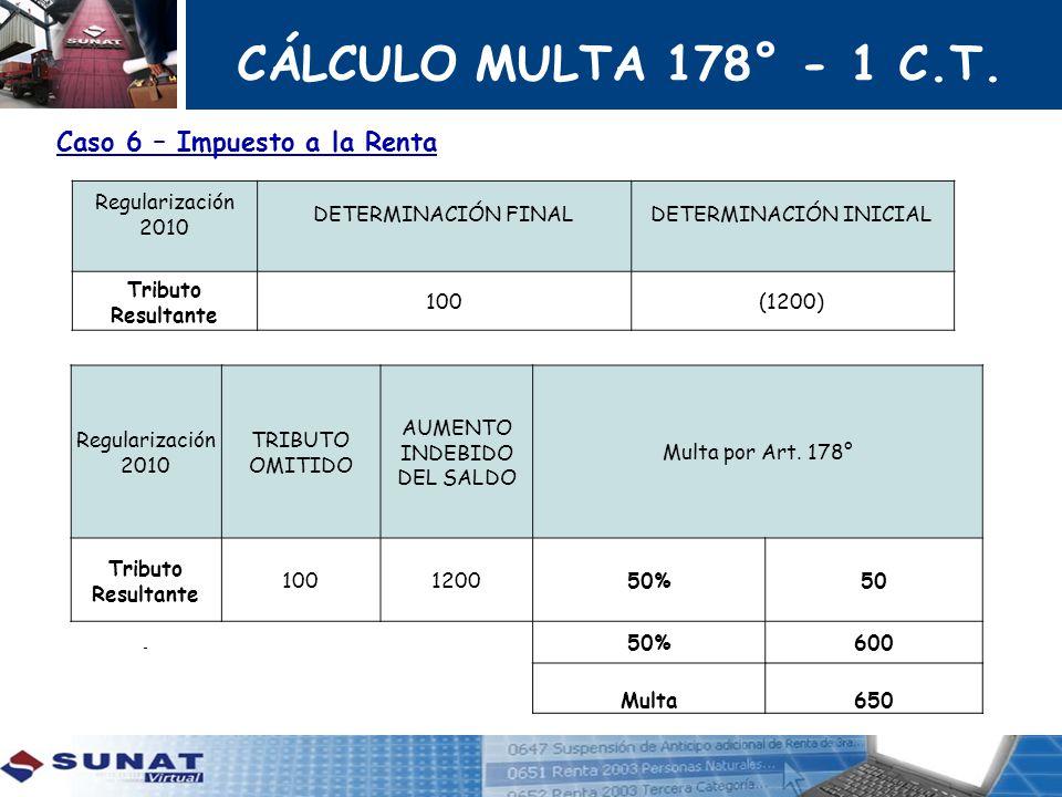 CÁLCULO MULTA 178° - 1 C.T. Caso 6 – Impuesto a la Renta