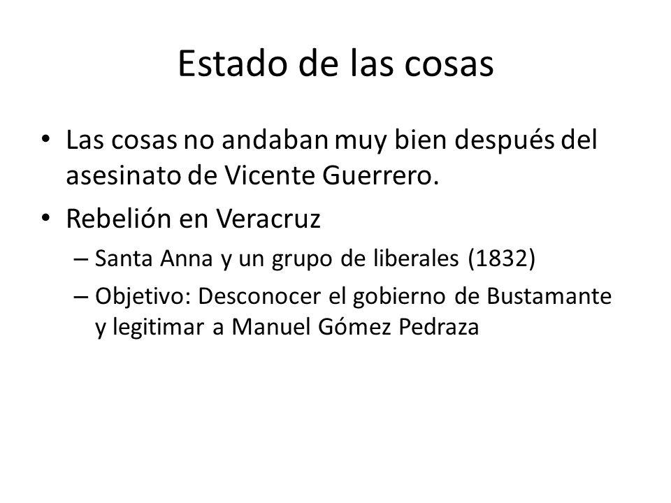 Estado de las cosas Las cosas no andaban muy bien después del asesinato de Vicente Guerrero. Rebelión en Veracruz.