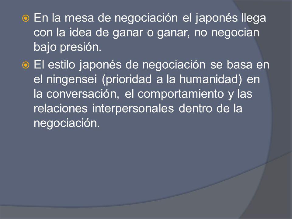 En la mesa de negociación el japonés llega con la idea de ganar o ganar, no negocian bajo presión.
