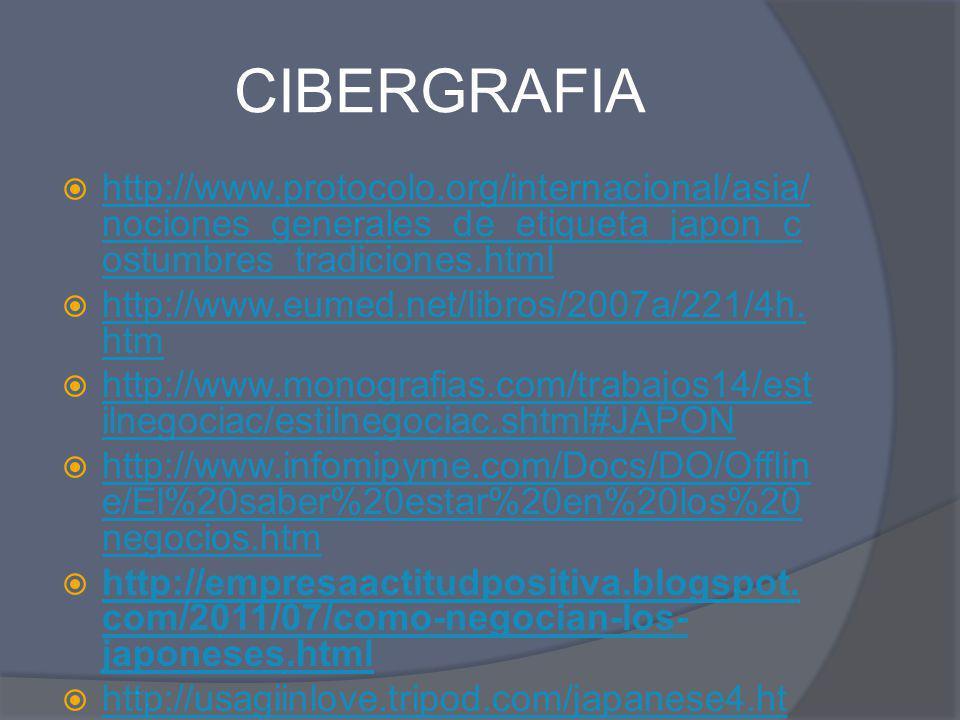 CIBERGRAFIA http://www.protocolo.org/internacional/asia/nociones_generales_de_etiqueta_japon_costumbres_tradiciones.html.