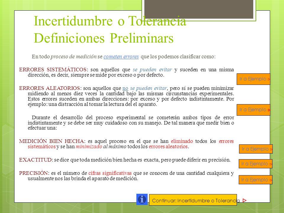 Incertidumbre o Tolerancia Definiciones Preliminars
