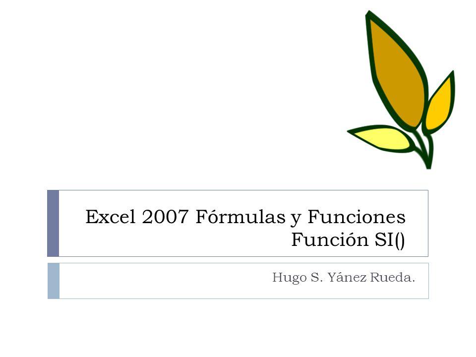 Excel 2007 Fórmulas y Funciones Función SI()