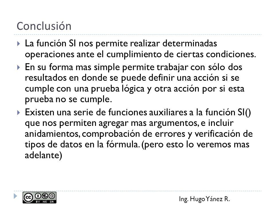 Conclusión La función SI nos permite realizar determinadas operaciones ante el cumplimiento de ciertas condiciones.