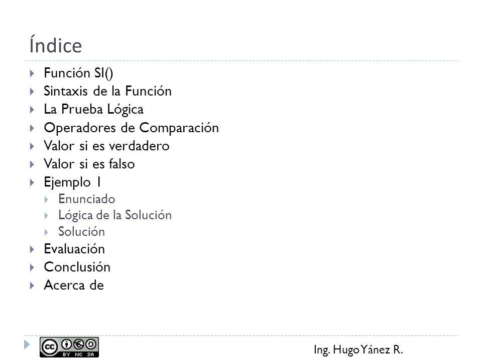 Índice Función SI() Sintaxis de la Función La Prueba Lógica
