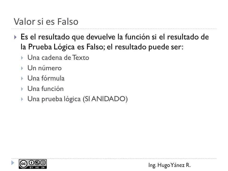 Valor si es Falso Es el resultado que devuelve la función si el resultado de la Prueba Lógica es Falso; el resultado puede ser: