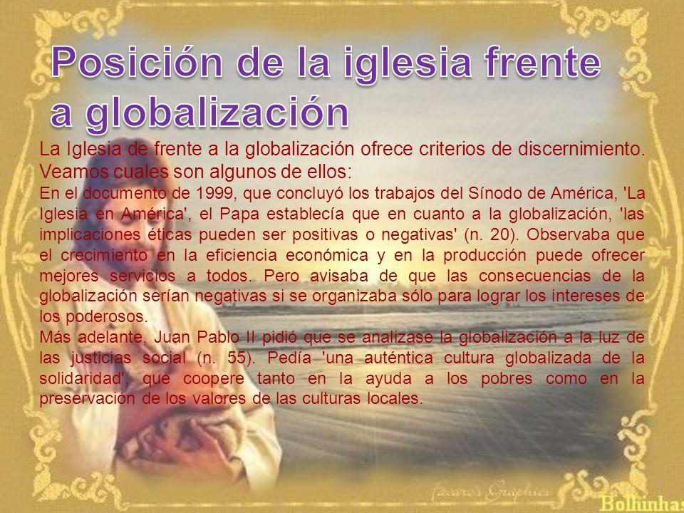 Posición de la iglesia frente a globalización