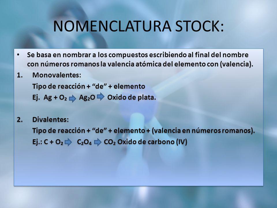 NOMENCLATURA STOCK: